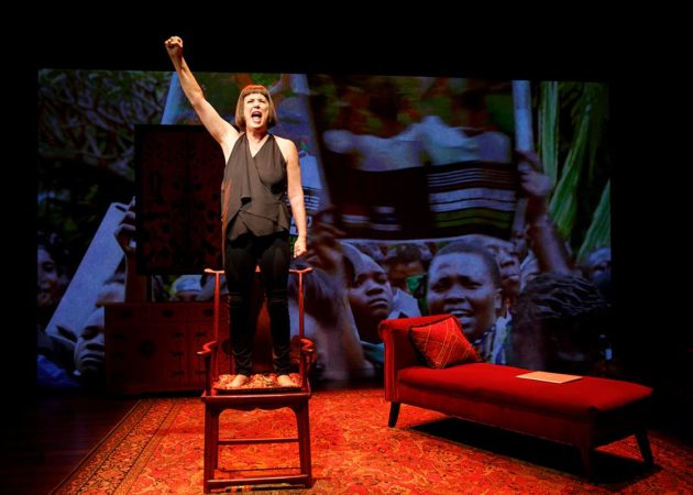 """Eve Ensler performing her new show, """"In the Body of the World."""" Photo credit: Joan Marcus."""