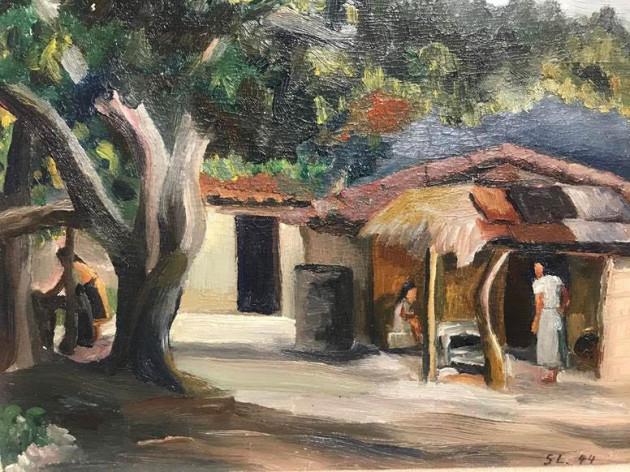 """Landscape in San Salvador"" by Susi Lewinsky, 1944. Art in Exile, Leo Baeck Institute"
