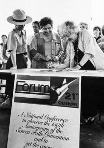 Betty Friedan signing the renewed Declaration of Sentiments at Seneca Falls, September, 1977.
