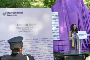 """In the summer of 2016, Heather was on maternity leave when she read about the Central Park effort and vowed to be part of it. As president of New York Life Foundation, her company, agreed to support the project with a $500,000 challenge grant, to make the statue a reality. """"This generous contribution was in no small part, due to the company's relationship with Susan B. Anthony."""" Nettle explains, """"Anthony was one of our first female policy owners. Her father and brother-in-law were agents of the company, and she used cash value of her policy to actually get the first women admitted to University of Rochester."""" A few months after she joined Monumental Women, Nettle would cast her vote for first female candidate to run for president Hillary Rodham Clinton."""