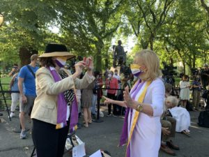Descendant of Elizabeth Cady Stanton (wearing the hat) with Congresswoman Carolyn Maloney (the leader in Congress to pass the Equal Rights Amendment (ERA) to the Constitution)
