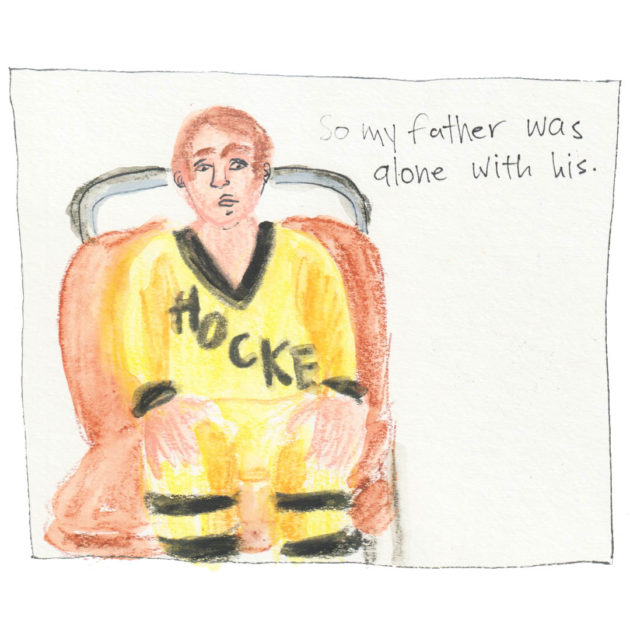 Panel with illustration of sitting boy with yellow hockey jersey. Text says: So my father was alone with his.